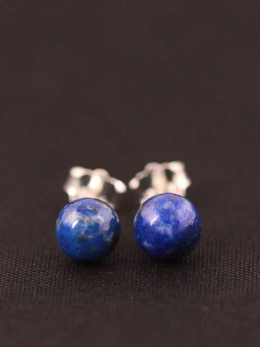 SILVER MI Natural Blue Stones stud Earring