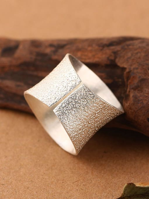 Peng Yuan Simple Thick Silver Opening Ring 2