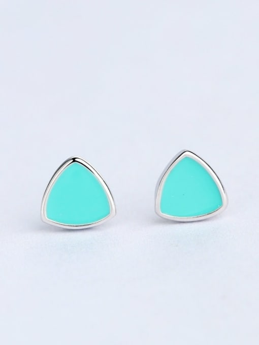One Silver Women All-match Triangle Shaped stud Earring 0