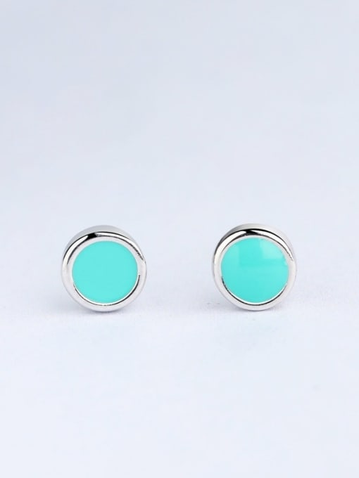 One Silver Fresh Round Shaped stud Earring 0