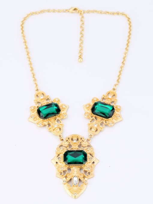 KM Personality Green Stones Alloy Necklace 1