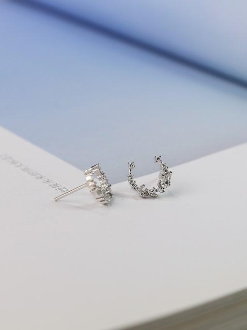 Peng Yuan Little Moon Zircon Stud Earrings 2