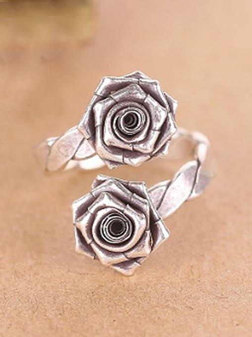 Peng Yuan Punk style Rose Flowers Opening Ring 0