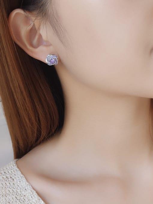 One Silver Women Trendy Purple Zircon stud Earring 2