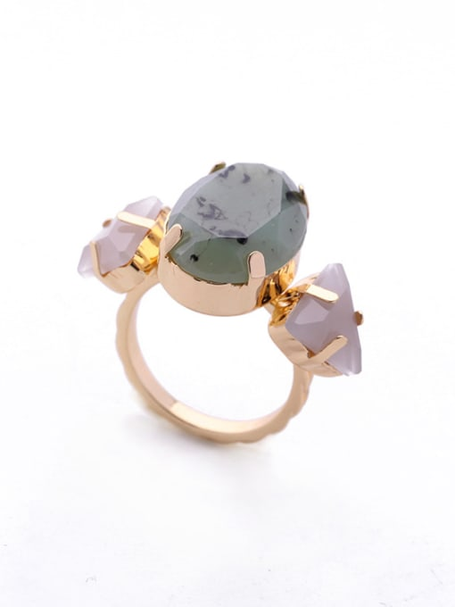 KM Oval Triangle Stones Alloy Ring 0
