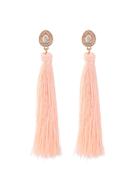 KM Fashion Pink Tassel Drop Chandelier earring 0