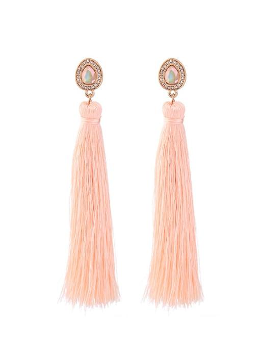 KM Fashion Pink Tassel Drop Chandelier earring
