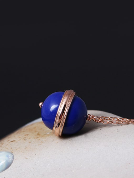 SILVER MI Rose Gold Plated Ball Necklace