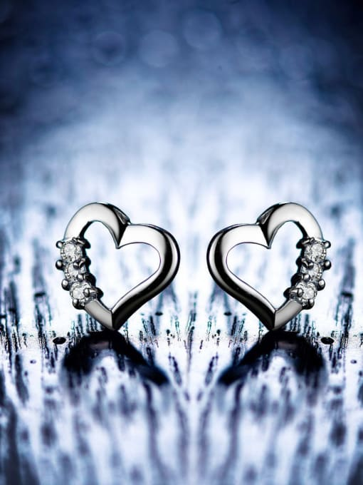 One Silver All-match Heart Shaped Zircon stud Earring 2