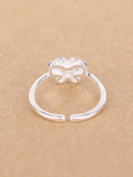 Peng Yuan Simple Butterfly Silver Opening Ring 1