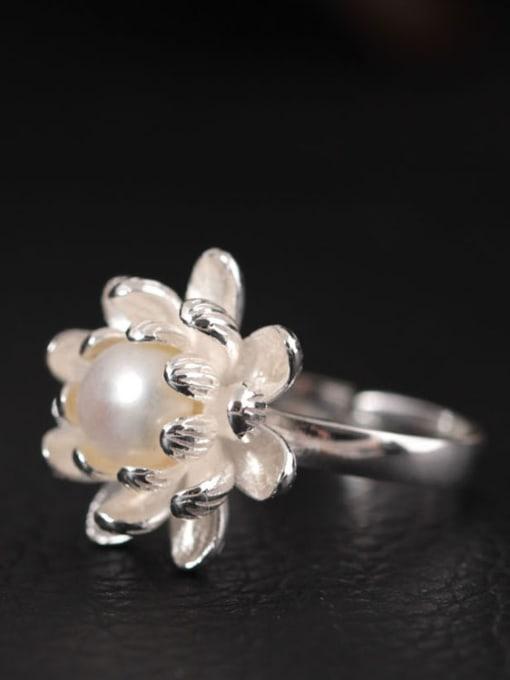 SILVER MI S925 Silver Flower-shape Opening Ring 1