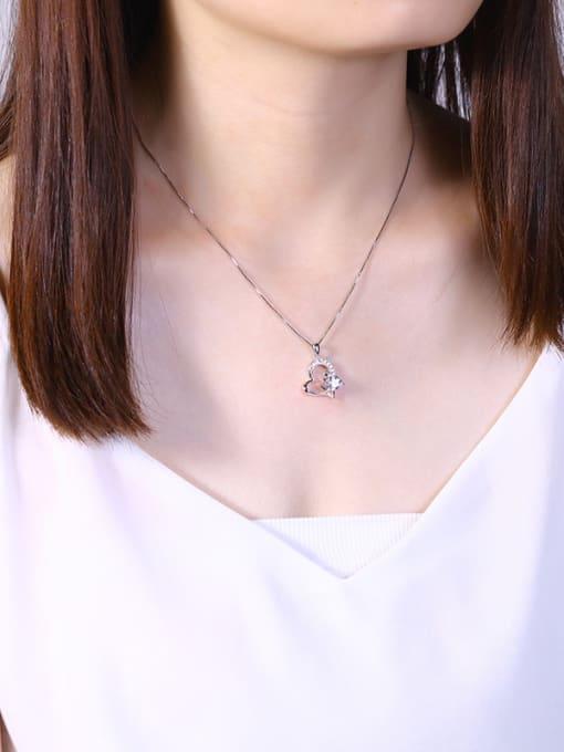 One Silver 925 Silver Heart Shaped Zircon Pendant 2