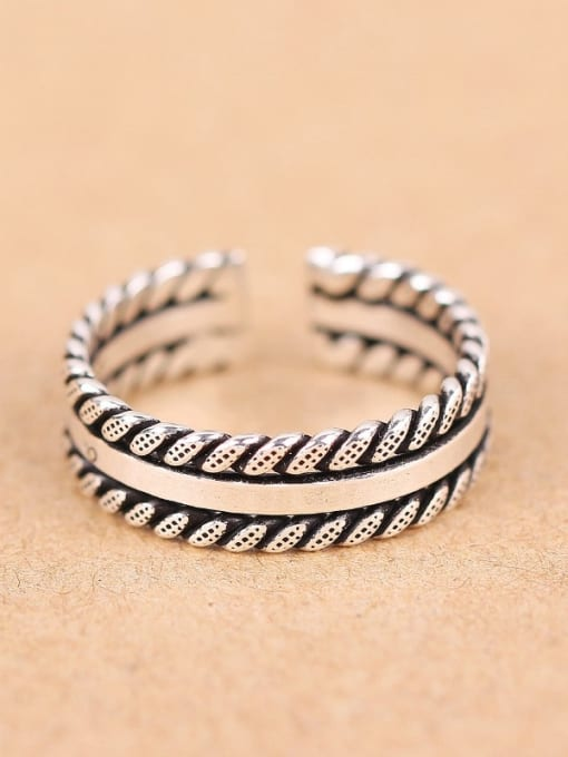 Peng Yuan Retro style Woven Patterns Opening Ring