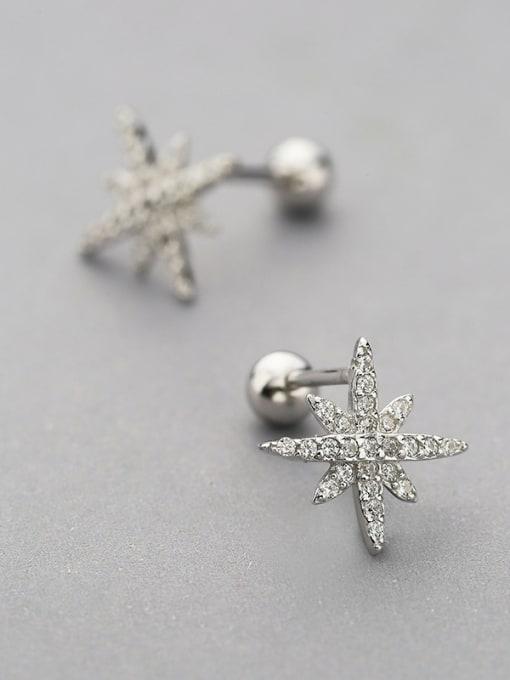 One Silver Women Simply Star Shaped Zircon cuff earring 2