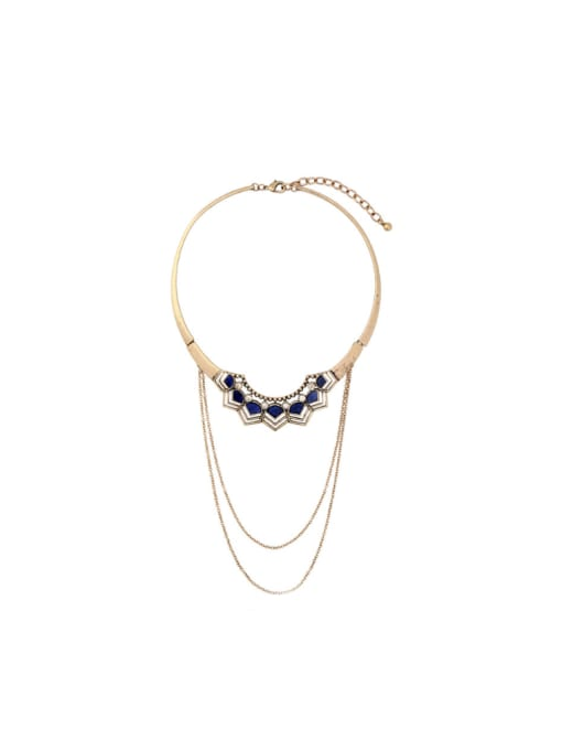 KM Retro Multi-layer Stones Short Necklace 0