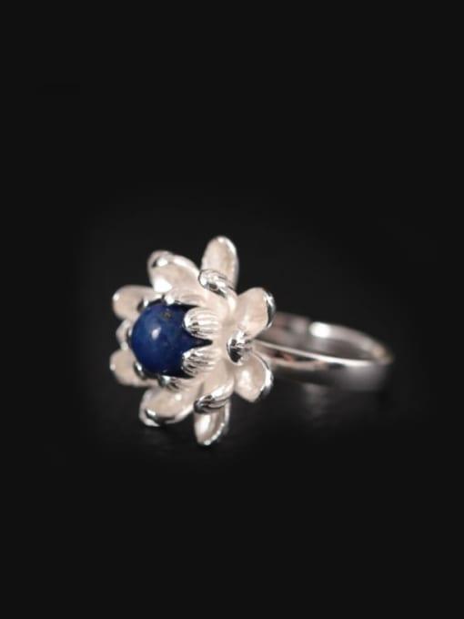 SILVER MI S925 Silver Flower-shape Opening Ring 0