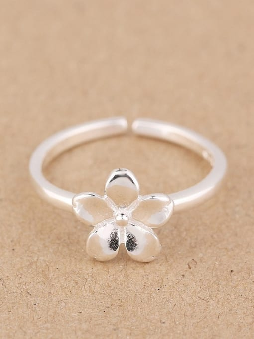 Peng Yuan Simple Flower Silver Opening Midi Ring 0