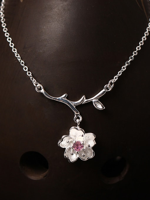 SILVER MI Creative Sweet and Lovely Cherry Blossom Necklace
