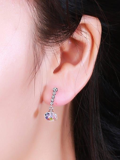 One Silver Women Geometric Shaped Zircon Earrings 1