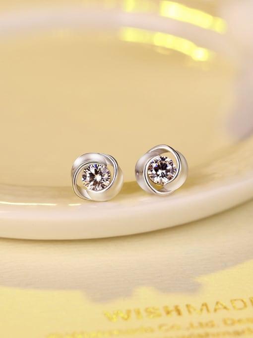 One Silver 925 Silver Flower-shaped stud Earring 0
