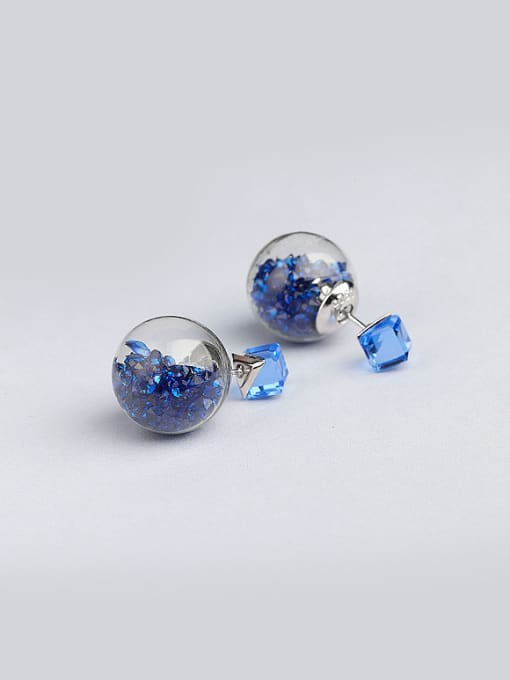 Blue S925 silver 16m glass stud Earring are all-match Tremella nail