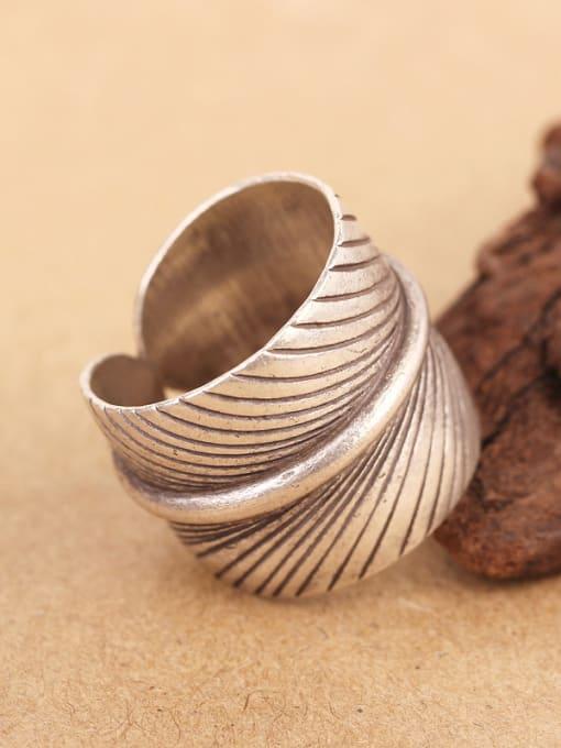 Peng Yuan Retro Leaf Handmade Silver Ring 4