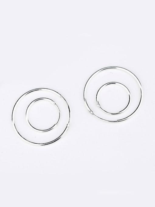 Peng Yuan Simple Refined Silver Loop Earrings 2