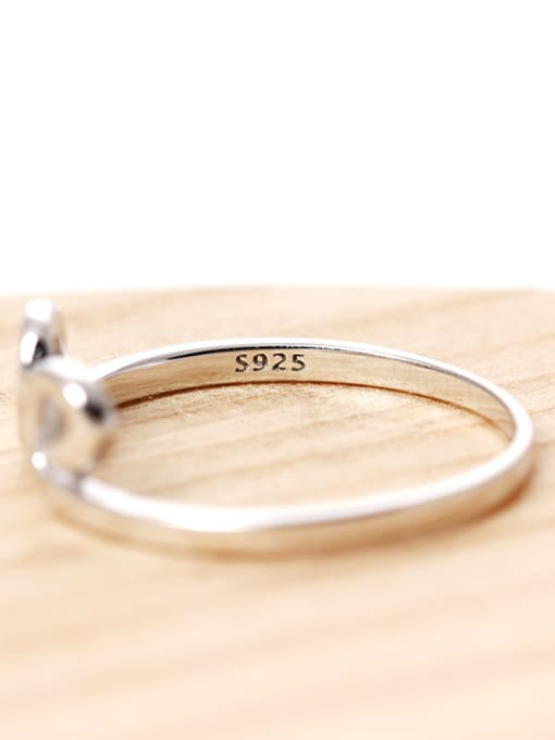 SILVER MI S925 Silver Simple Style Opening Ring 2