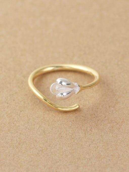 Peng Yuan 2018 Simple Flower Silver Opening Midi Ring 0