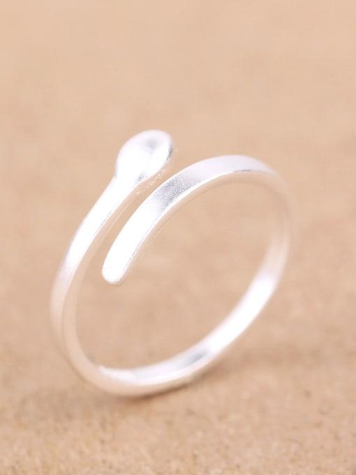 Peng Yuan Simple Matte Silver Opening Midi Ring 2
