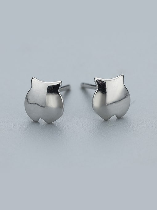 One Silver Cute Fish Shaped Stud Earrings 0