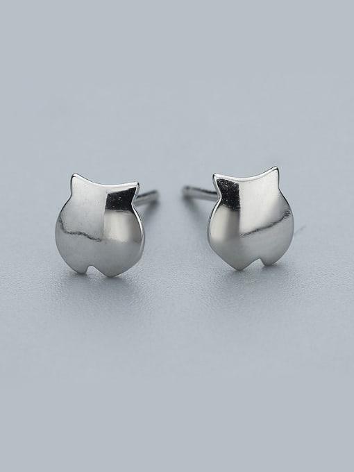 One Silver Cute Fish Shaped Stud Earrings