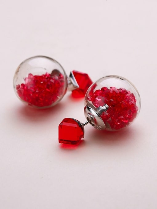 Red S925 silver 16m glass stud Earring are all-match Tremella nail