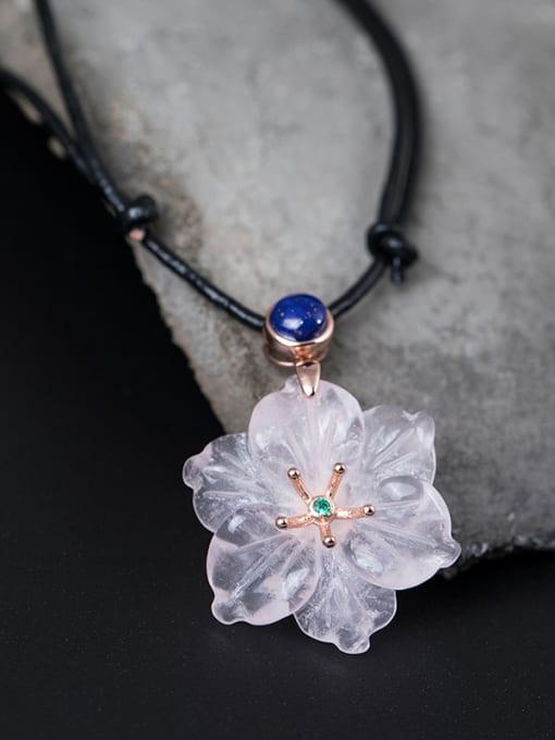 SILVER MI Flower Pendant Women Sweater Necklace 1