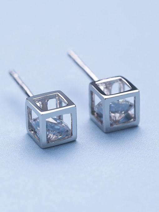 One Silver 925 Silver Temperament Square stud Earring 3