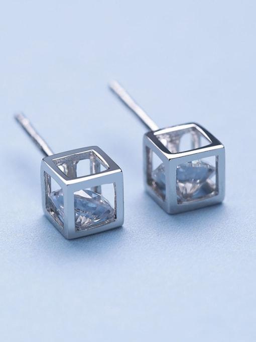 White 925 Silver Temperament Square stud Earring