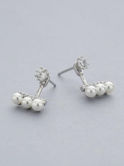 White Fashionable Geometric Pearl Stud Earrings