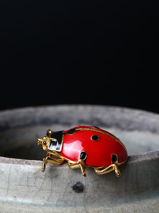 SILVER MI Color Enamel Insect Personality Brooch 2