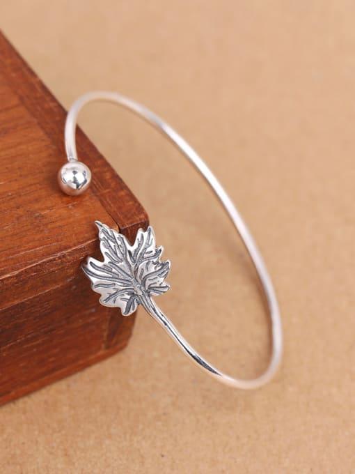 Peng Yuan Maple Leaf Silver Opening Bangle 2