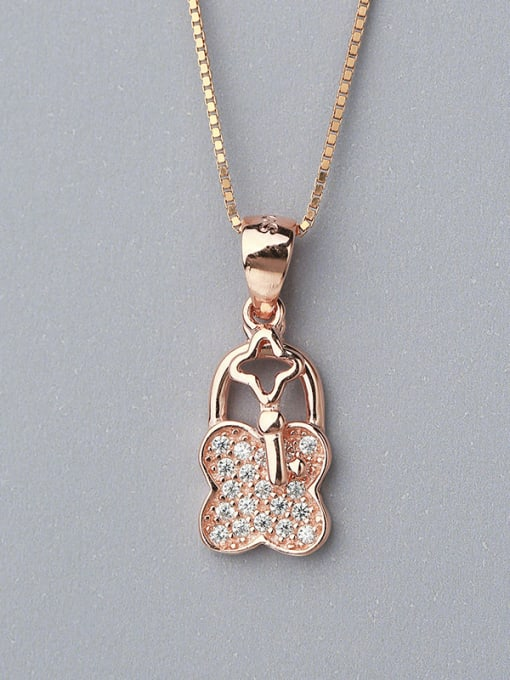 One Silver Rose Gold Plated Clover Shaped Pendant