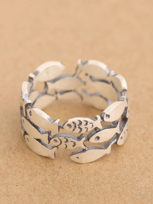 Peng Yuan Personalized Little Fish Silver Ring 0