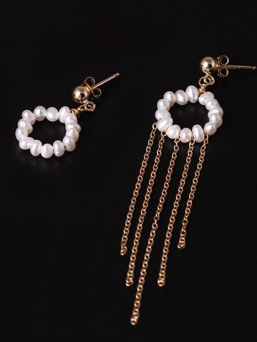 SILVER MI Handmade Freshwater Pearls Tassel Drop Earrings 2