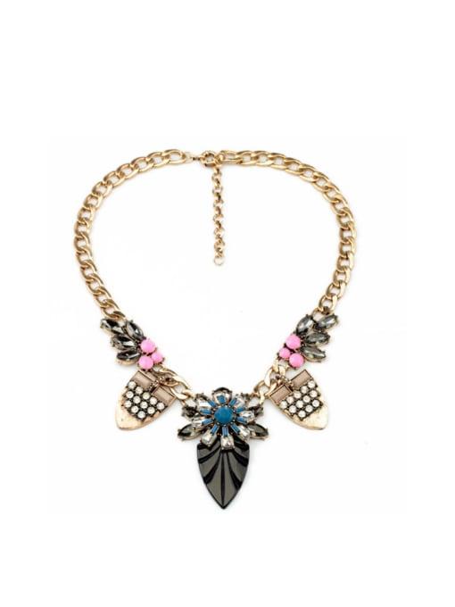 KM Leave-shape Pendant Women Necklace