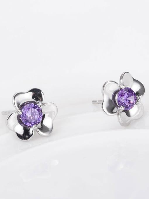 One Silver Women Purple Zircon Flower stud Earring 2