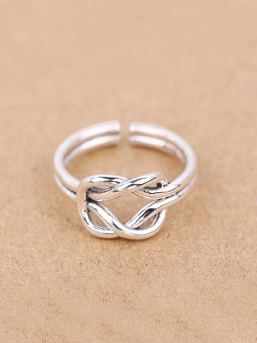 Peng Yuan Personalized Knot Silver Opening Midi Ring
