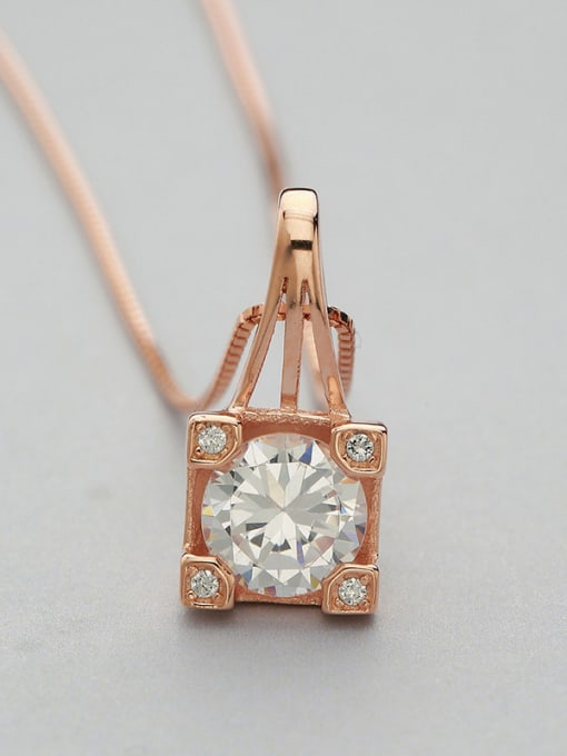 One Silver Rose Gold Plated Geometric Shaped Pendant