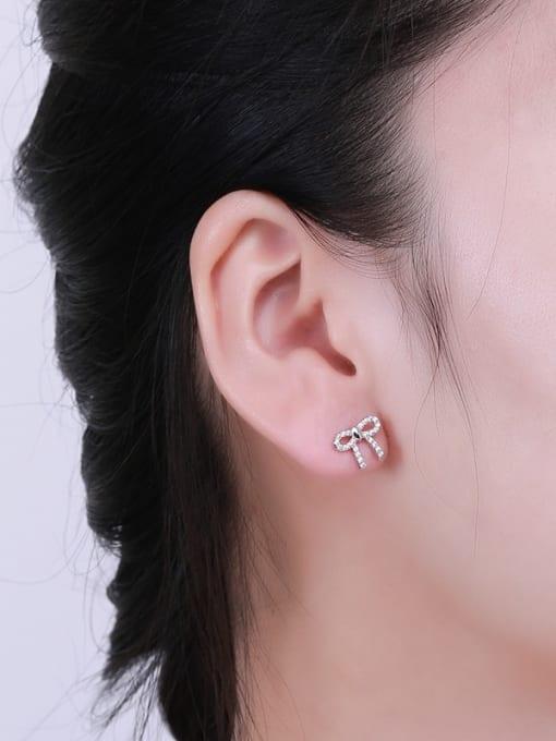 One Silver Women Temperament Bowknot Shaped stud Earring 1