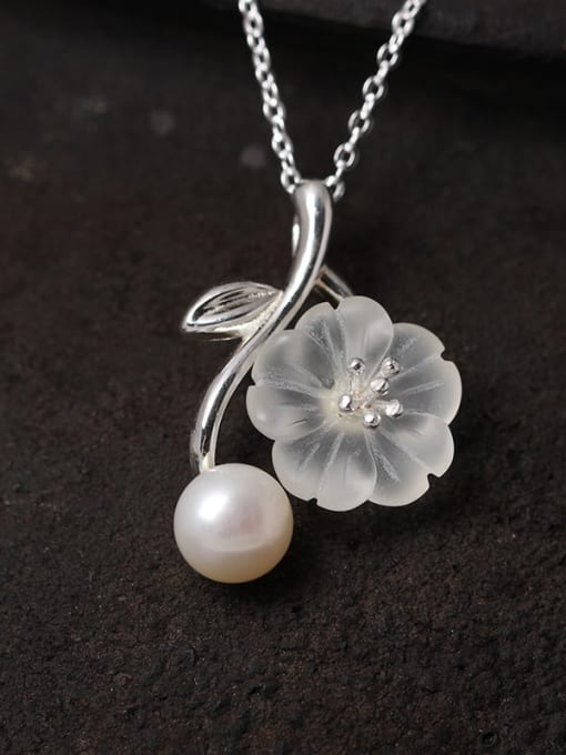 SILVER MI S925 Silver Crystal  Flower Pendant Necklace