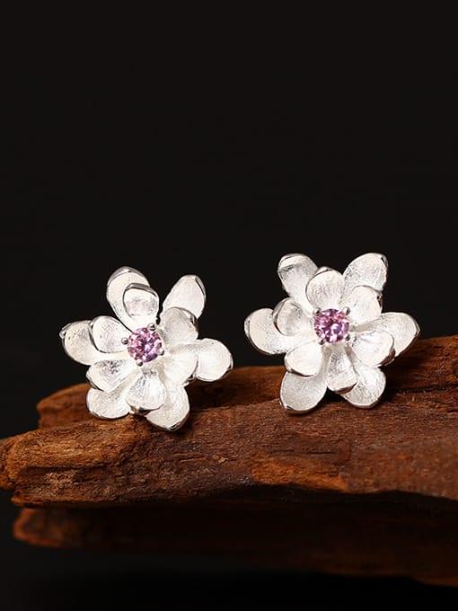SILVER MI Small Flower Women stud Earring 0