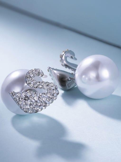 One Silver 925 Silver Swan Pearl stud Earring 2